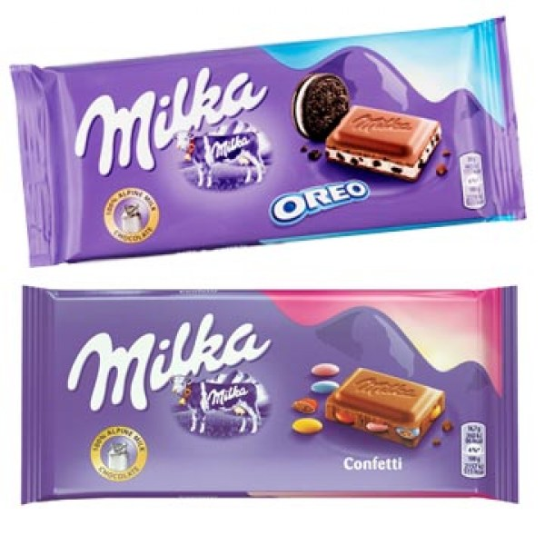 Milka Chocolate bars flavours Oreo Diam Nuts